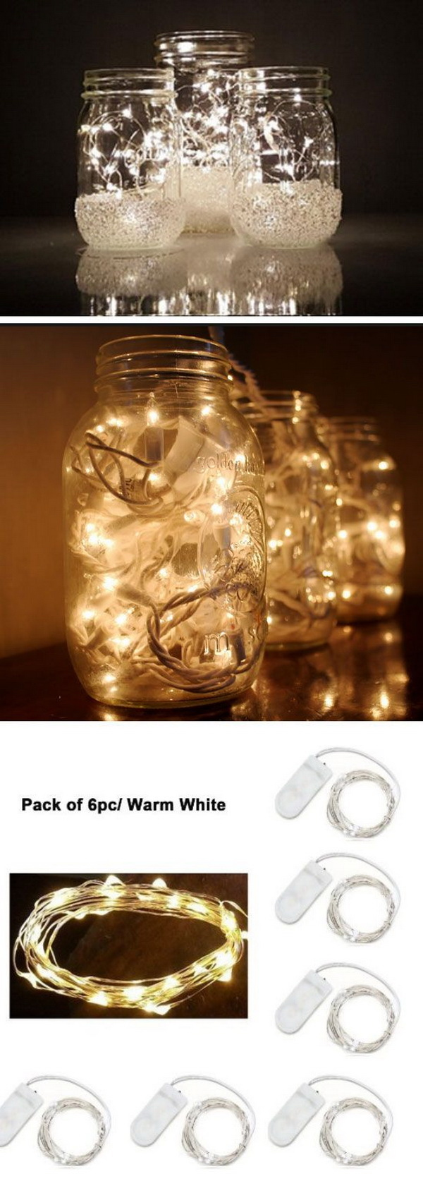 Mason Jar Christmas Lights. Take out the empty mason jars that lay in the nooks of our pantries and turn them into these stunning lighting project for your holiday decoration.