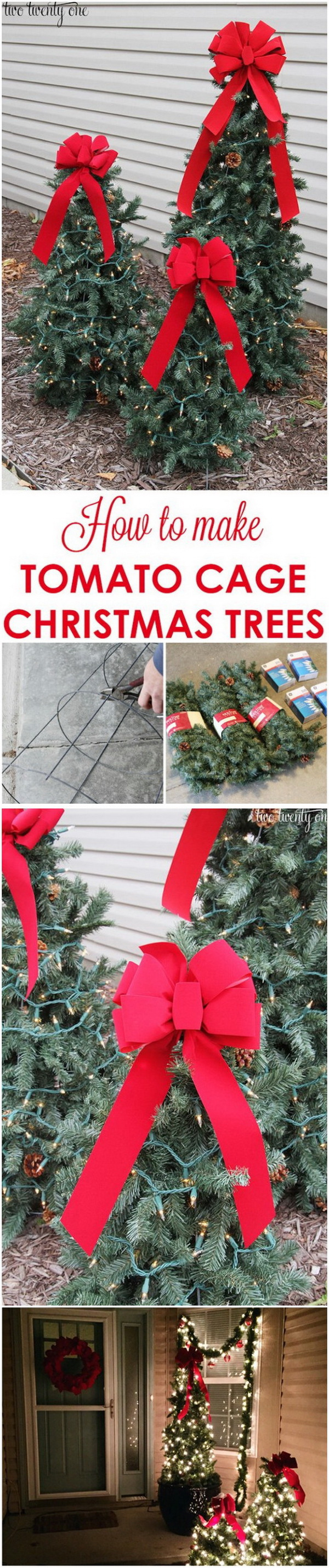 Tiered Tomato Cage Christmas Trees. Make outdoor Christmas trees with a tomato cage, them decorate them with wired garland, fairy lights and big bows on top. What a great DIY project for your garden or front porch this holiday season.