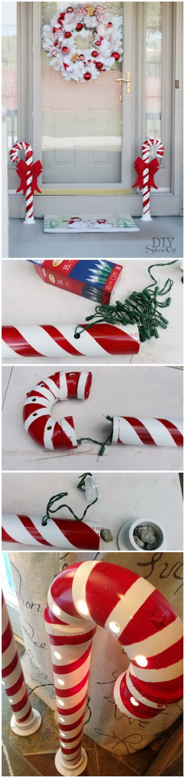 DIY Candy Canes Christmas. Upcycle the PVC pipes lying around somewhere in your home into these cheap and stunning projects to greet guests at the front door. Form the pipes into a candy cane shape with different kinds and sizes and then use tape to paint the twisted red stripes for the candy cane look.