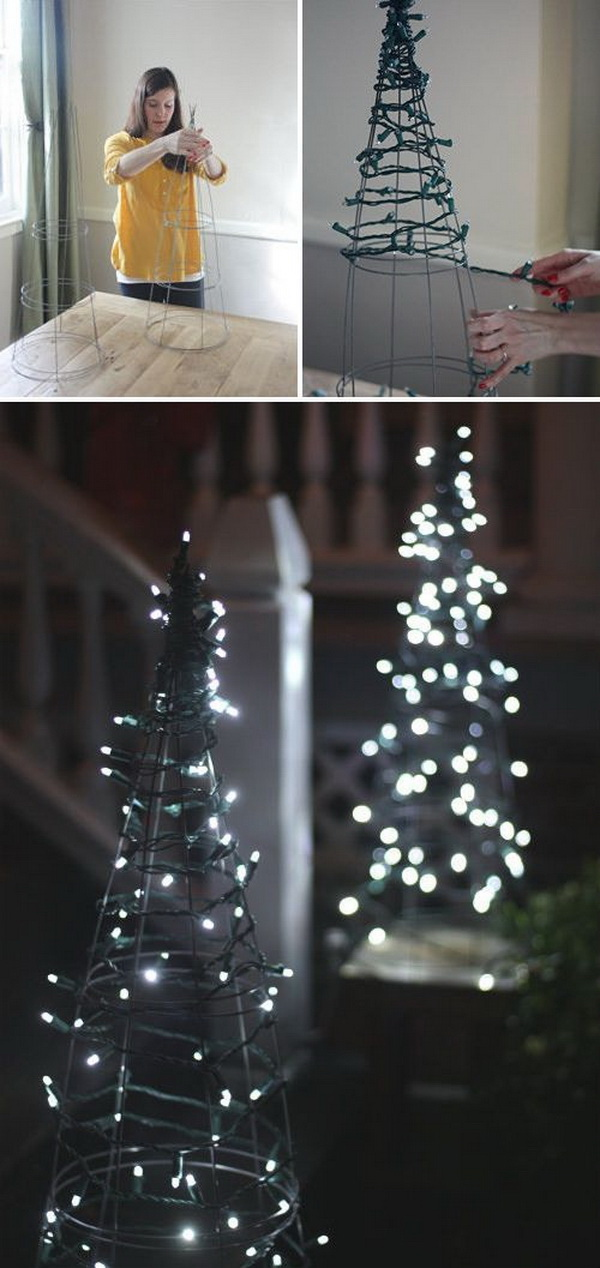 diy tomato cage christmas tree lights