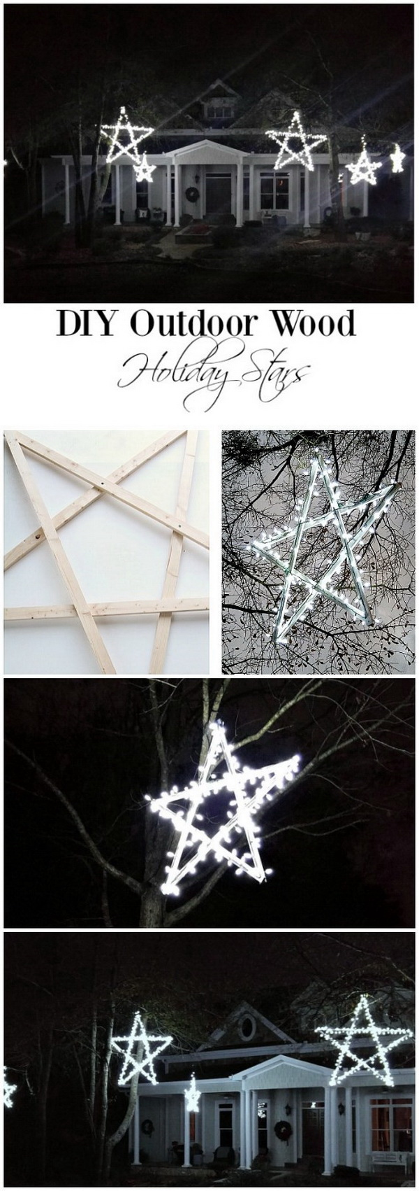 DIY outdoor Wooden Lighted Stars. These wooden lighted stars must look really gorgeous in your large farm yard.