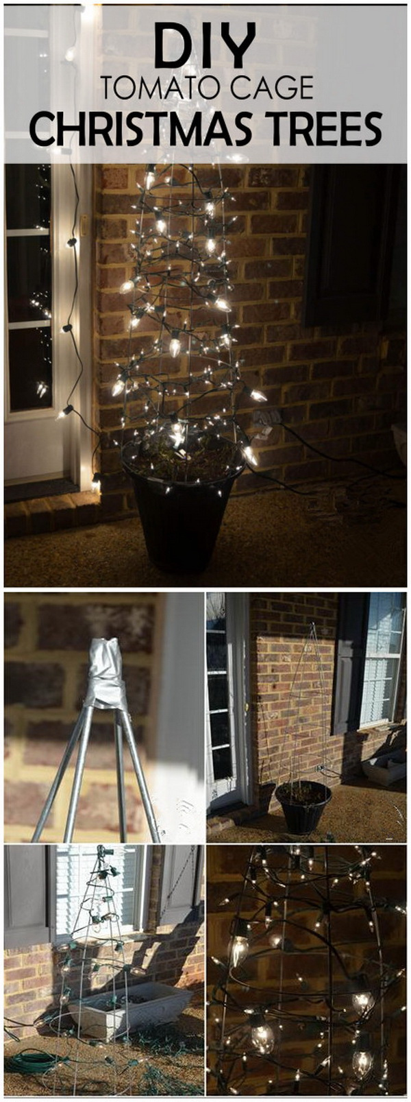 DIY Tomato Cage Lighted Christmas Tree. Light your garden or front porch up with this bright tomato cage Christmas lighted tree and bring some budget bling to your holiday decoration!