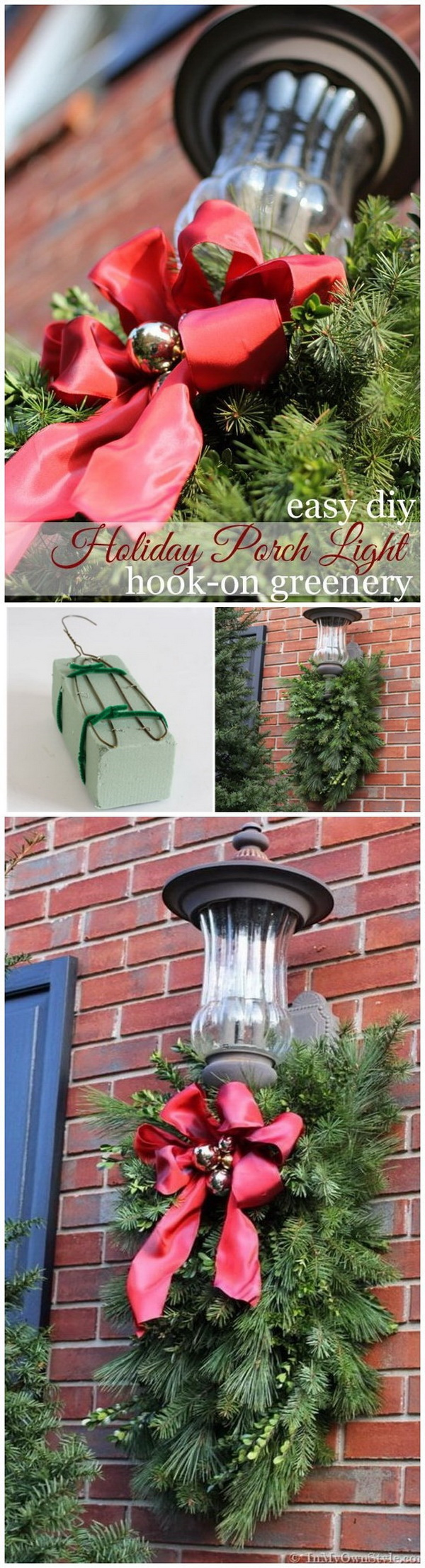 Made greenery sprays with Christmas tree cuttings, to hang it under the exterior light fixtures using a block of foam and a wire coat hanger. It is really a great DIY project to welcome your guest on your front porch!