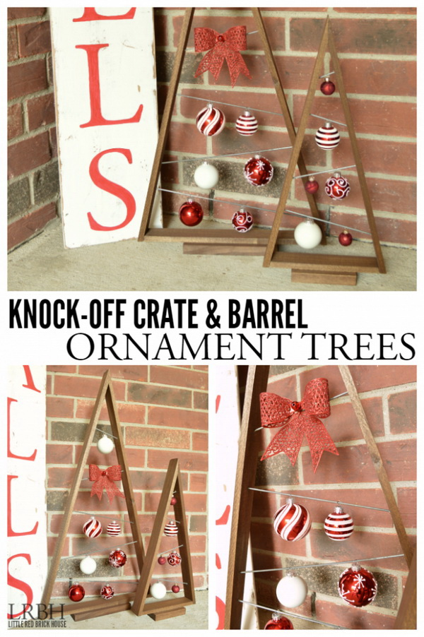 Homemade Projects & Ideas for Christmas Decoration: Crate & Barrel Ornament Trees.