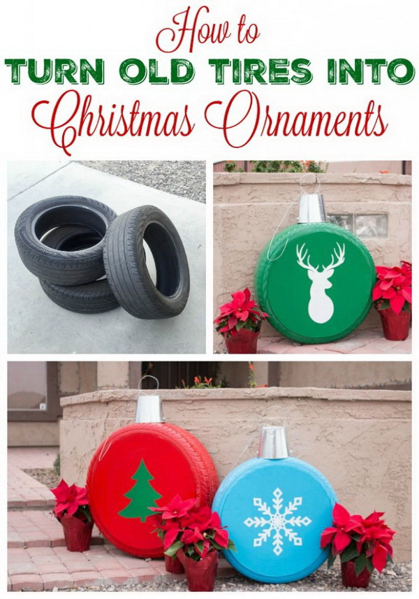 Homemade Projects & Ideas for Christmas Decoration: Turn Old Tires into Giant Christmas Ornaments.