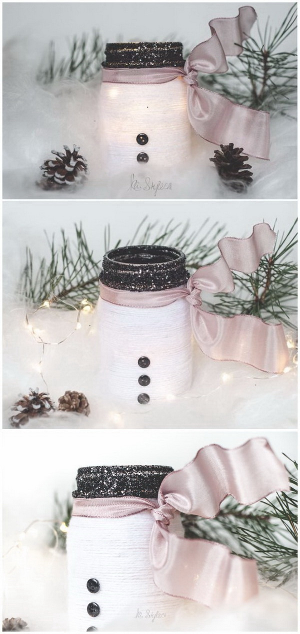 Homemade Projects & Ideas for Christmas Decoration: Yarn Snowman Mason Jar Luminary.