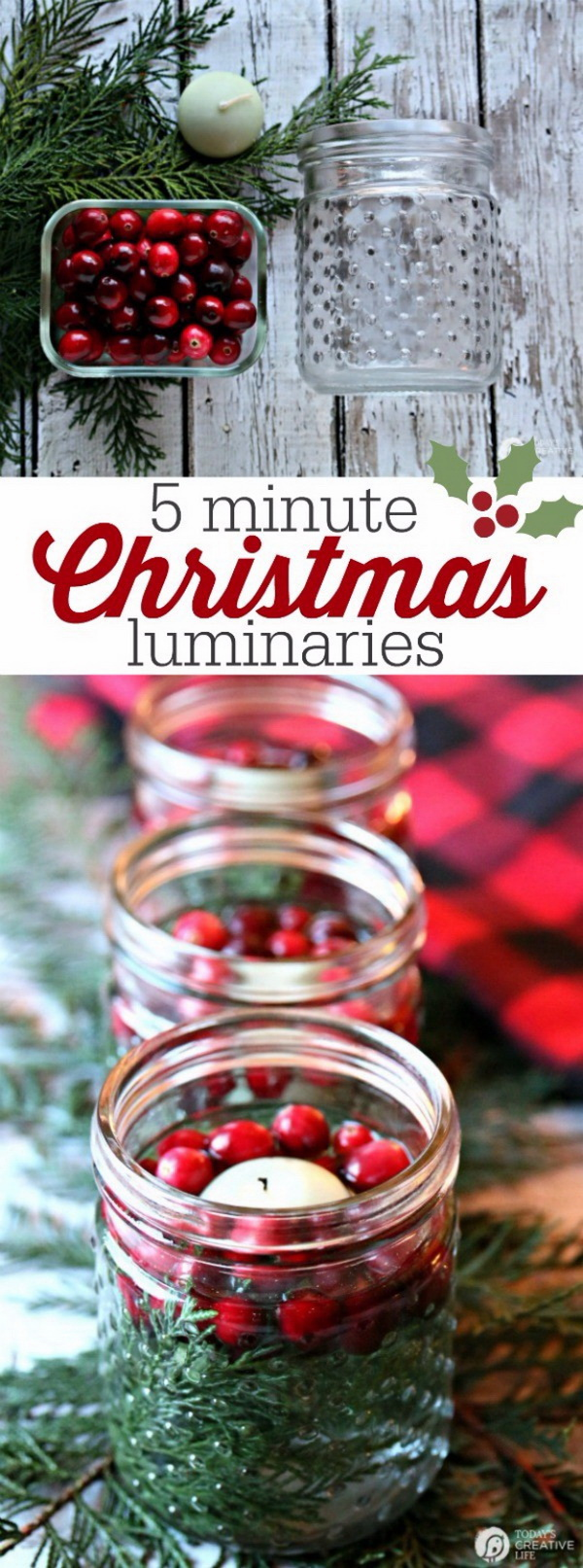 Homemade Projects & Ideas for Christmas Decoration: 5 Minute Christmas Luminaries.