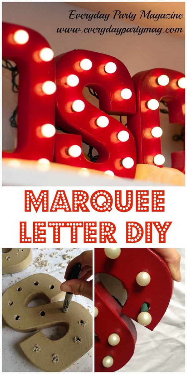 Homemade Projects & Ideas for Christmas Decoration: DIY Marquee Letters.