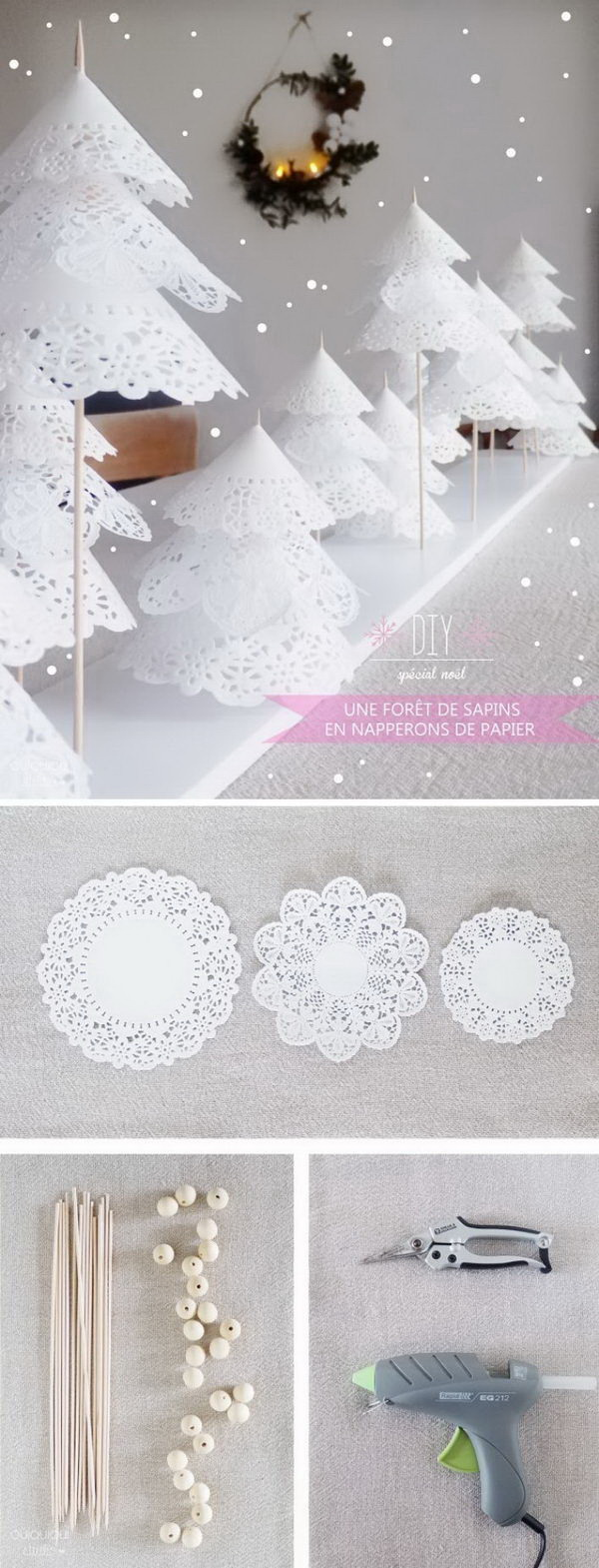 Homemade Projects & Ideas for Christmas Decoration: DIY Forest of Paper Doily Trees.