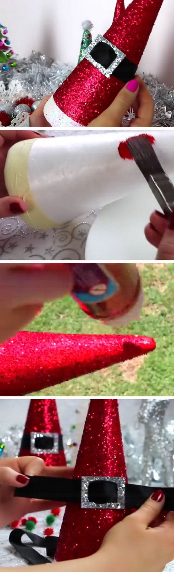 Homemade Projects & Ideas for Christmas Decoration: DIY Santa Hat Cones.