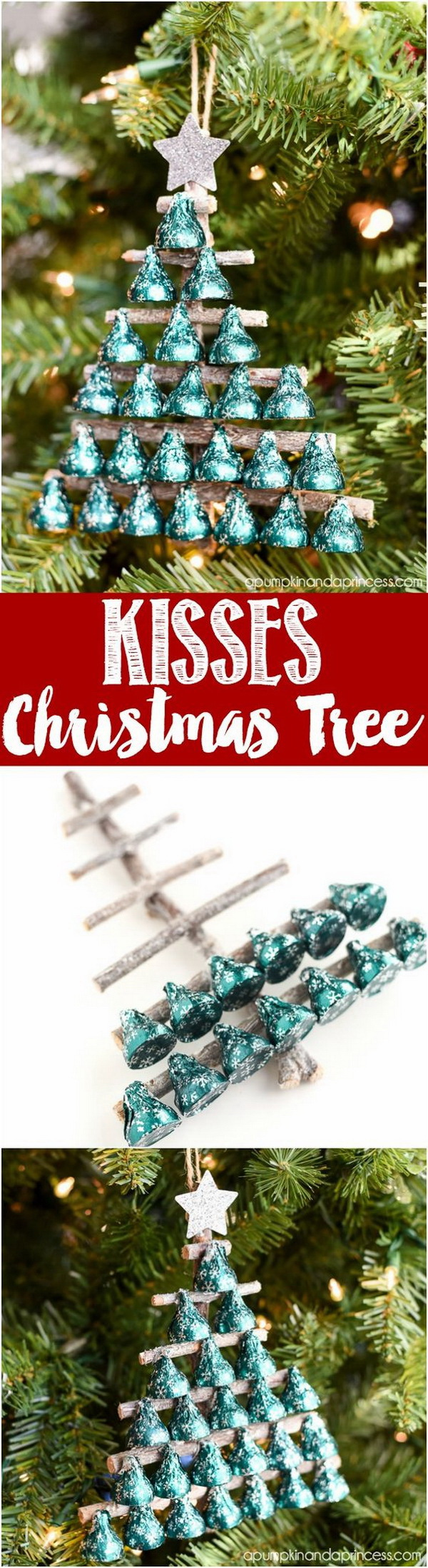 Homemade Projects & Ideas for Christmas Decoration: DIY Kisses Candy Christmas Tree Ornament.