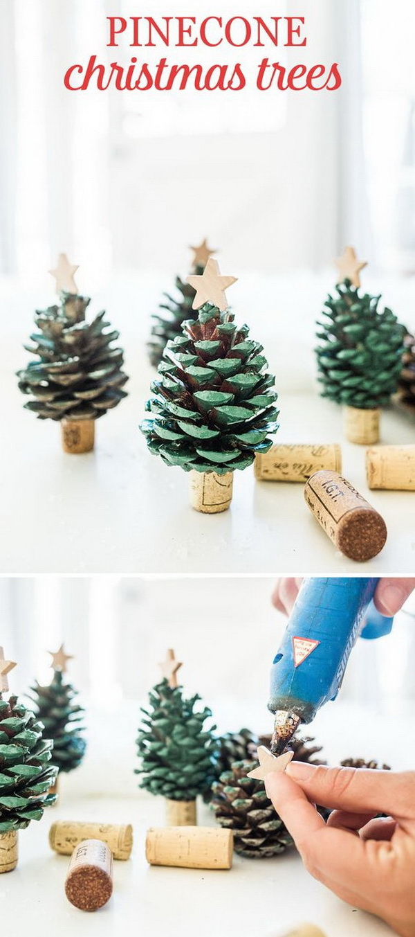 Pinecone Christmas Trees. Make a series of these simple and quick pinecone Christmas trees for a nature-inspired adornment for the holiday table, bookcase or even a corner of the room. Easy and Fun DIY Christmas crafts for You and Your Kids to Have Fun.