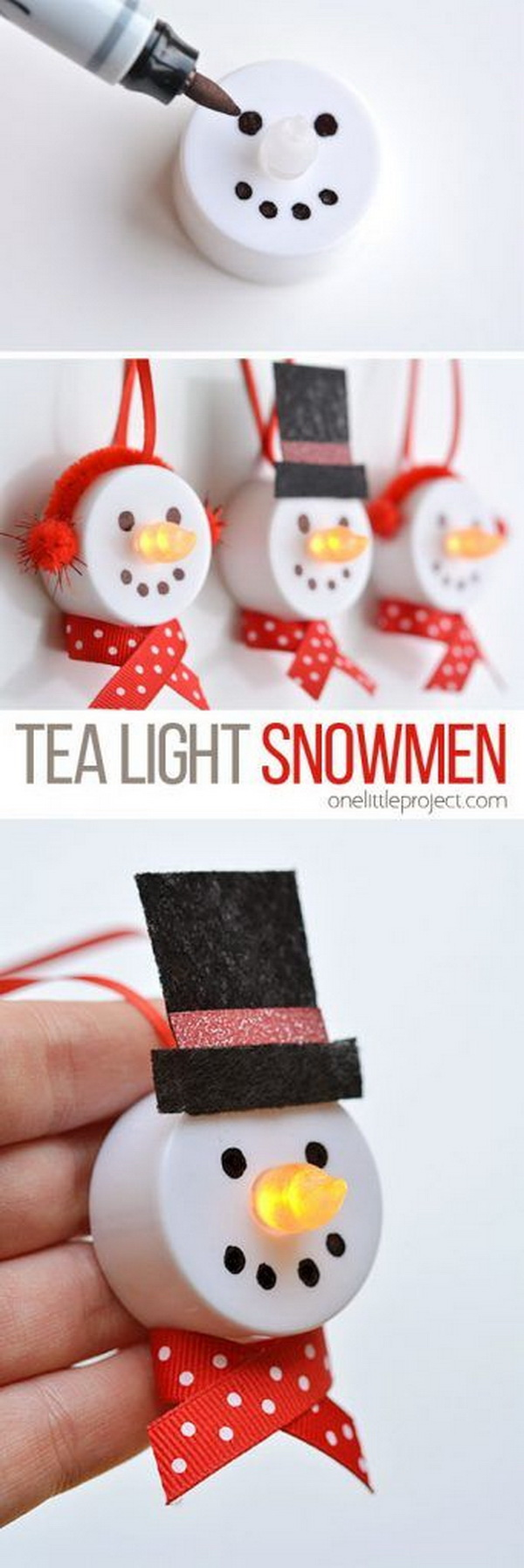 Tea Light Snowman Ornaments. What a fun Christmas craft project to use the dollar store tea lights to light up snowman nose! Easy and Fun DIY Christmas crafts for You and Your Kids to Have Fun.
