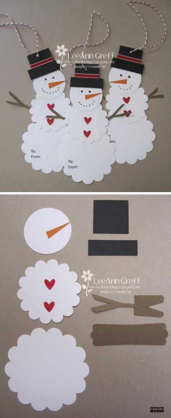 DIY Cute Paper Snowman Gift Tag. Easy and Fun DIY Christmas crafts for You and Your Kids to Have Fun.