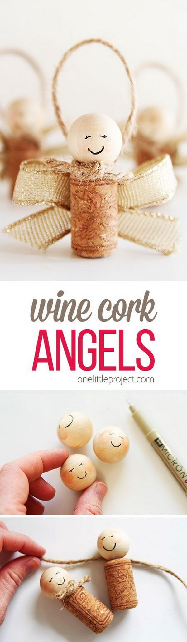 Wine Cork Angels. Easy and Fun DIY Christmas crafts for You and Your Kids to Have Fun.