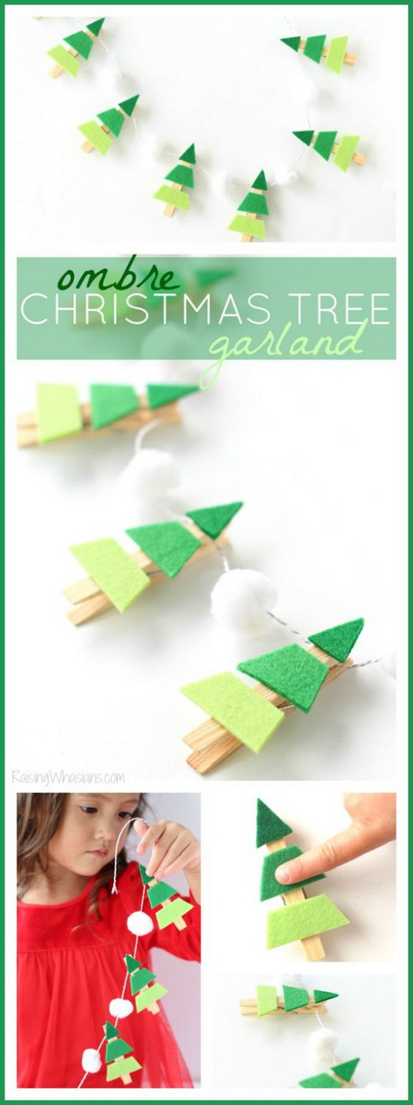Ombre Christmas Tree Garland. Easy and Fun DIY Christmas crafts for You and Your Kids to Have Fun.