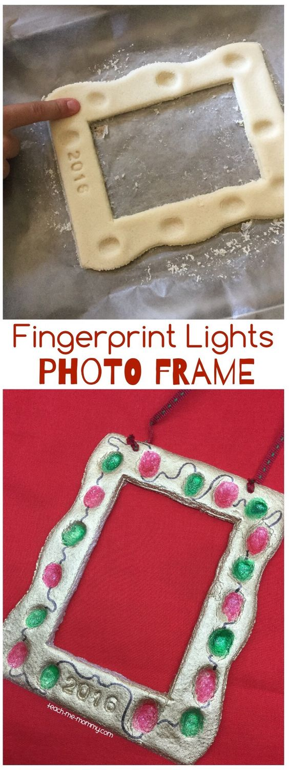 Fingerprint Lights Photo Frame. Easy and Fun DIY Christmas crafts for You and Your Kids to Have Fun.
