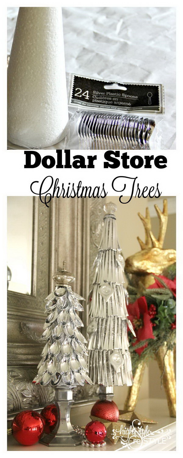 Dollar Store Silver Spoon Christmas Trees. Make Christmas trees using silver plastic spoons from dollar store!