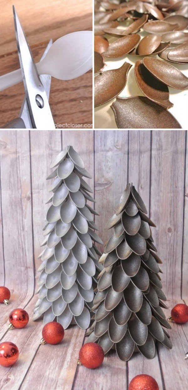 Plastic Spoon Christmas Tree. Try these unique Christmas trees this year using plastic spoons from dollar store! They are easy to do and the results are spectacular for your holiday mantel decoration!
