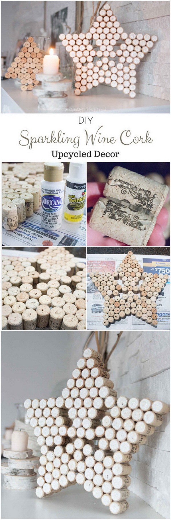 Sparkling Wine Cork Star Decor.