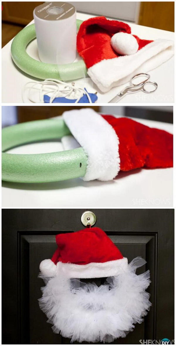 DIY Tulle Santa Wreath.