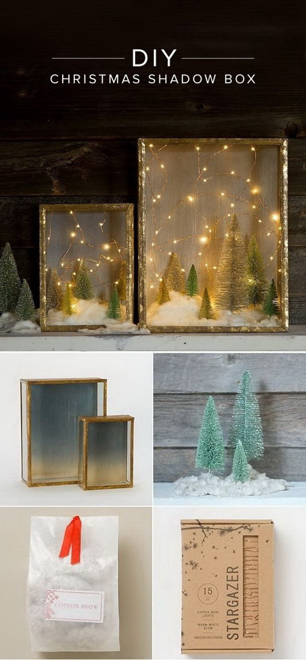 DIY Illuminated Forest Shadow Box For Christmas.