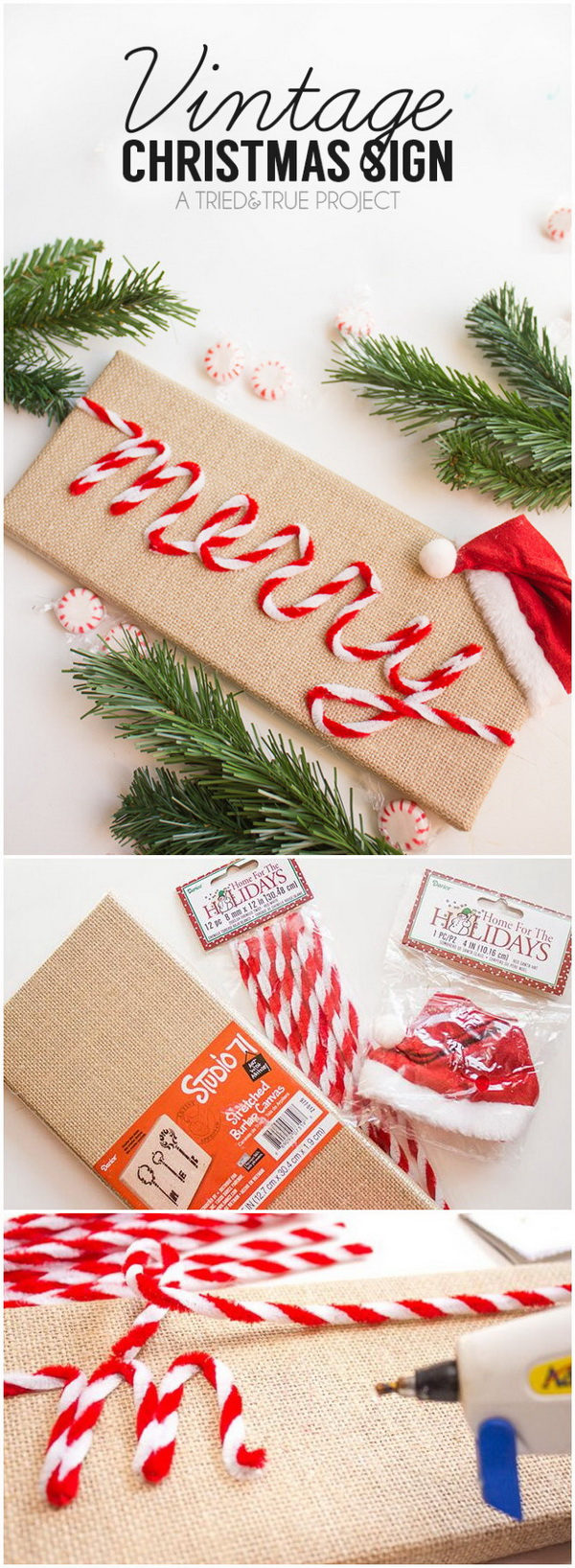 "Make your home look festive for less this holiday season with easy DIY dollar store Christmas decor ideas. Wreaths, candles, centerpieces, wall art, ornaments, vases, gifts and more! ""Merry"" Vintage Christmas Sign."