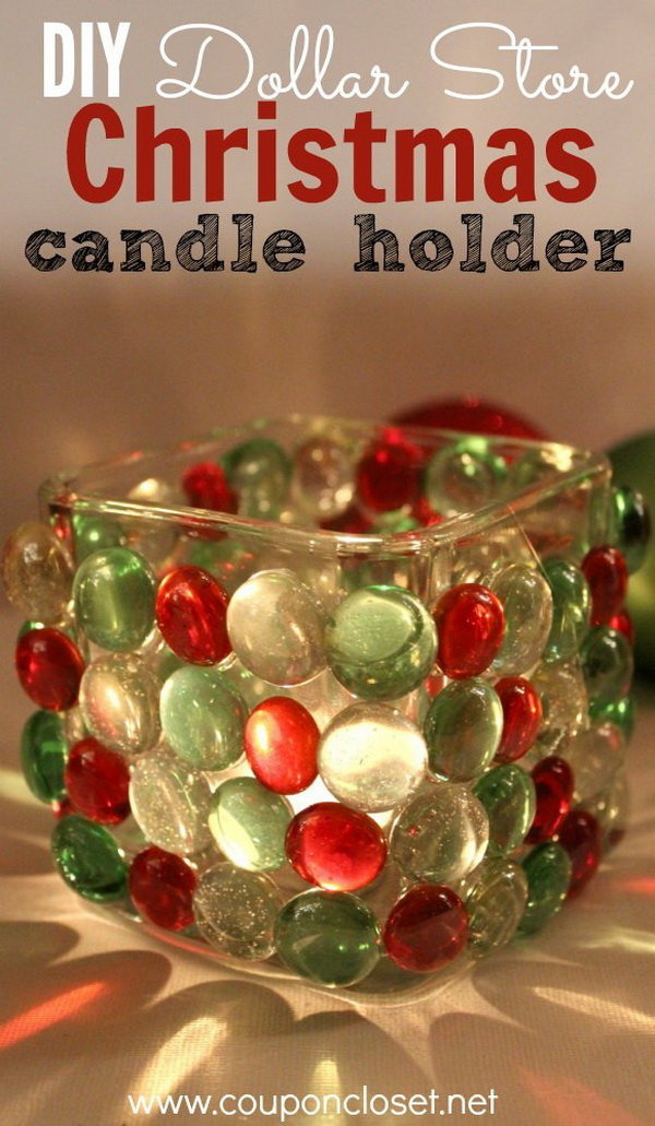 Dollar Store Christmas Candle Holder. This dollar store Christmas candle holder is a fun and frugal craft for you to do this holiday!