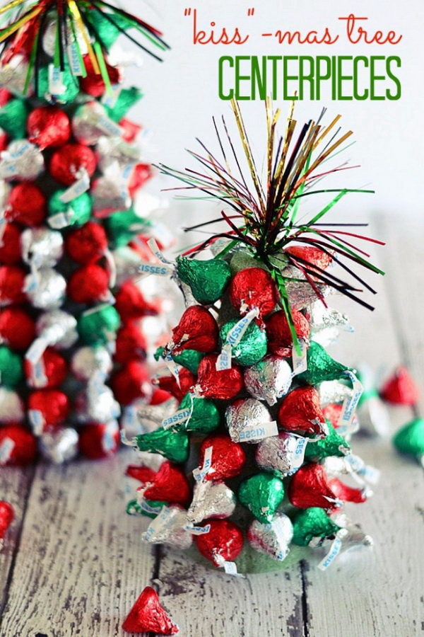 "Kiss""-mas Tree Centerpieces. DIY little Christmas tree made with Kiss Chocolates in the red and green colors! Perfect for Christmas kids party decor! DIY candy Christmas tree made with Kiss Chocolates in the red and green colors! A perfect holiday gifts to kids!"