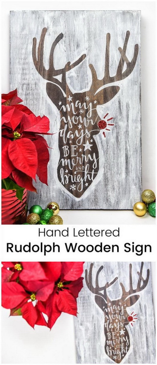 hand lettered rudolph wooden sign take a simple bare wood and turn it into - Christmas Decoration Craft Ideas