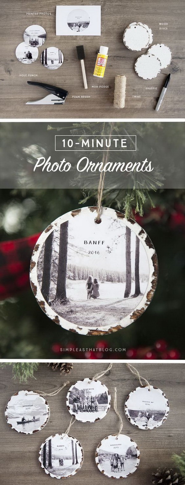 10 Minute Photo Keepsake Ornaments. These 10 minute photo keepsake ornaments are super easy and fun to make even for the kids. You can adore your Christmas tree with these keepsake ornaments or give them as holiday gifts to your families and friends.