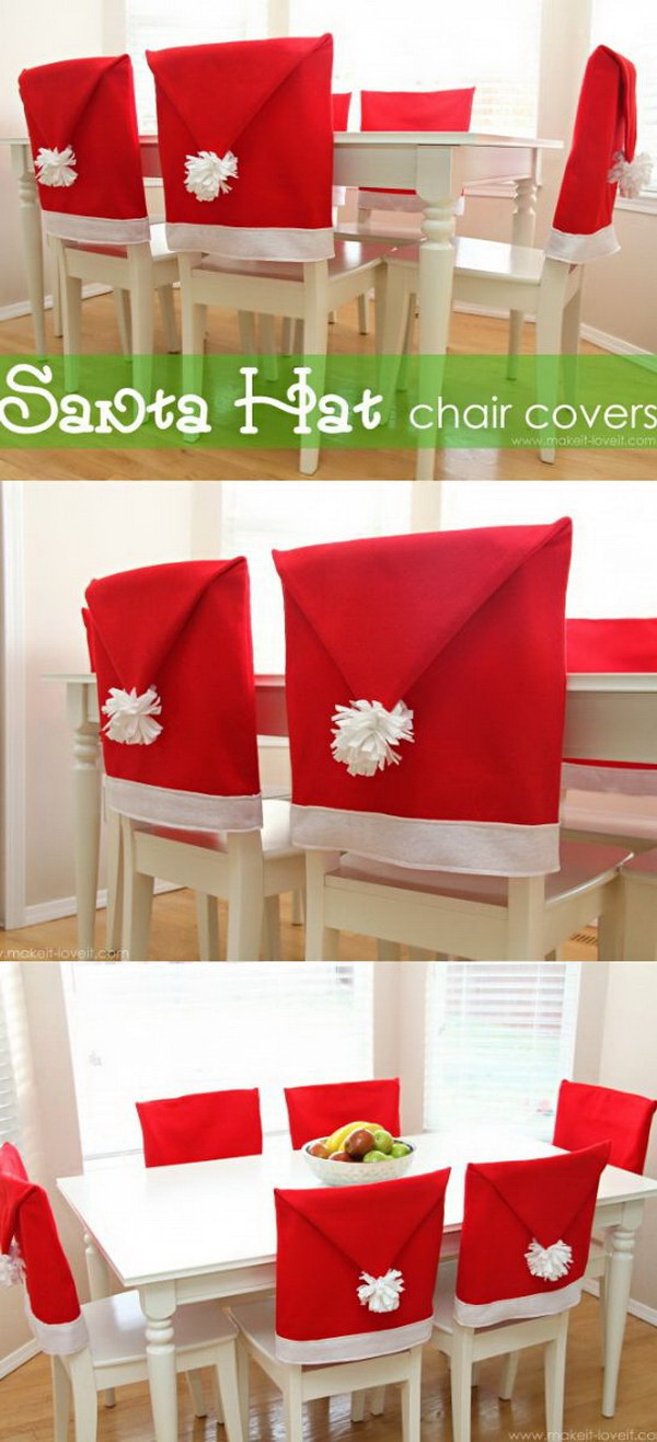 DIY Santa Hat Chair Covers. These Santa hat chair covers are adorable and easy to sew and will make a nice addition to your dining table decor.