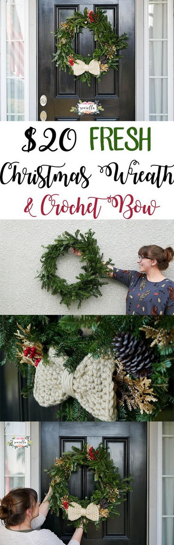 Fresh Christmas Wreath with a Cute Crochet Bow. Make a fresh wreath to adore your door for this holiday season. The crochet bow adds more sweetness! Love it very much!