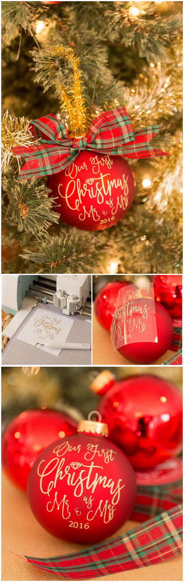 DIY Christmas Newlywed Ornaments. Festive ornaments for Christmas tree that even your kids can make in no time!