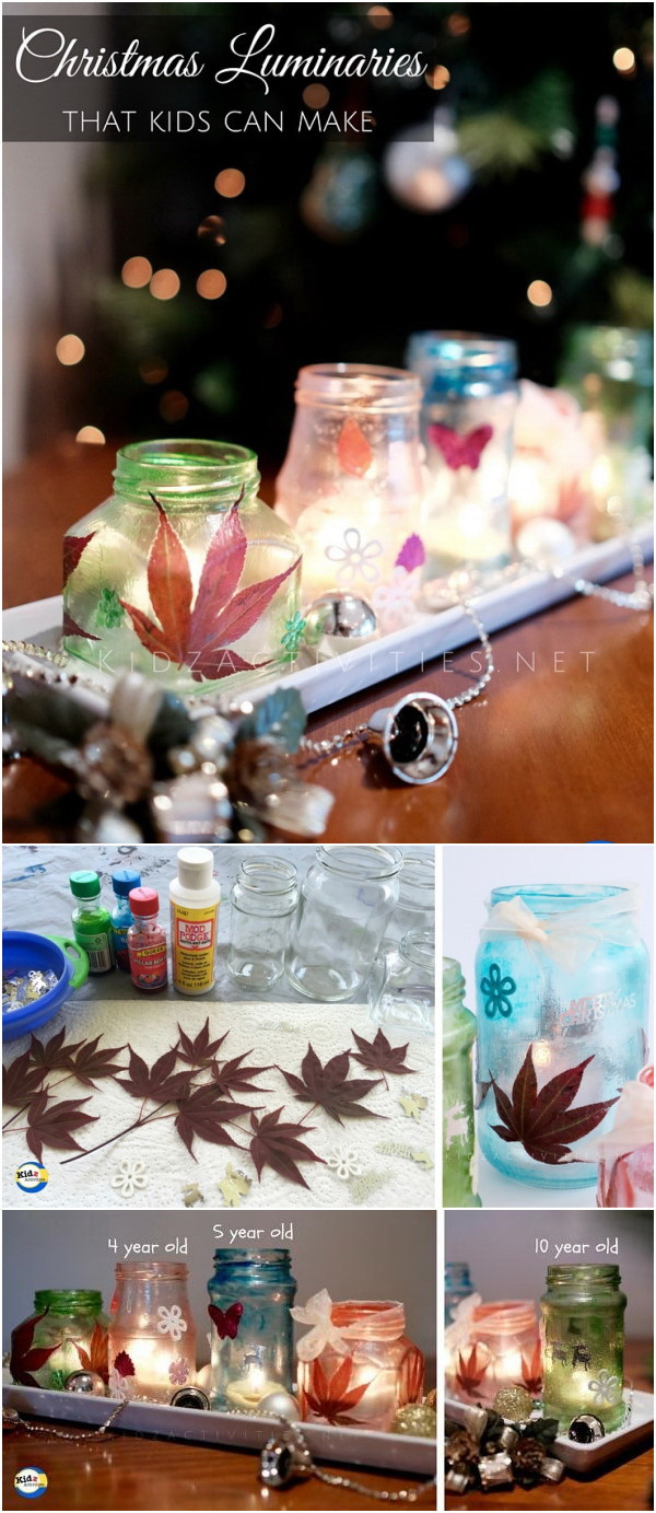 DIY Christmas Luminaries. Another stunning holiday centerpiece made with mason jars! The bright tealights and maple leaves add more holiday atmosphere to the home decor!