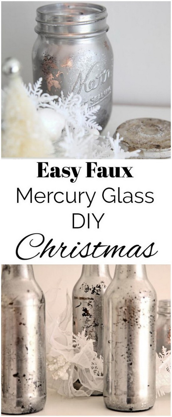 Faux Mercury Glass Mason Jar. Mason jars make great decorations for holidays! Here we will show how to make them into functional mercury glass inspired candle holders for Christmas.