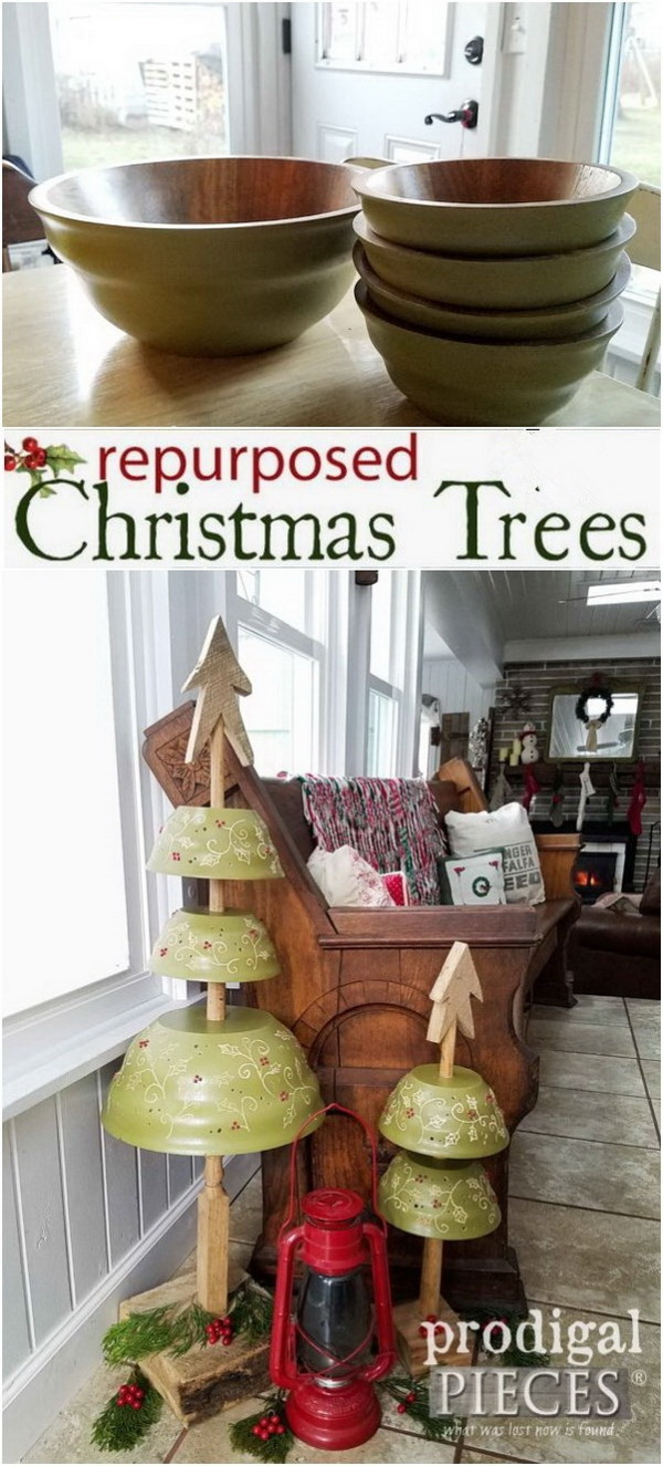 Repurposed Christmas Trees From Salad Bowls. Take advantage of everythings you can reprpose to make decorations for your holiday! Repurpose a set of thrifted salad bowls into these fun Christmas trees. What an idea and amazing results. They're perfect for your home!