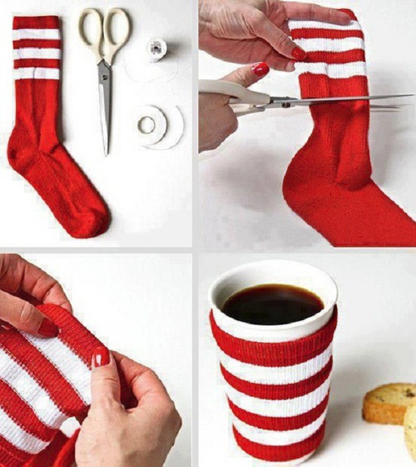 DIY Christmas Mug Sweater Made Out Of A Sock. Find a sock that best suits the holiday theme at first. This red and white pattern looks so festive and great for the Christmas holiday!