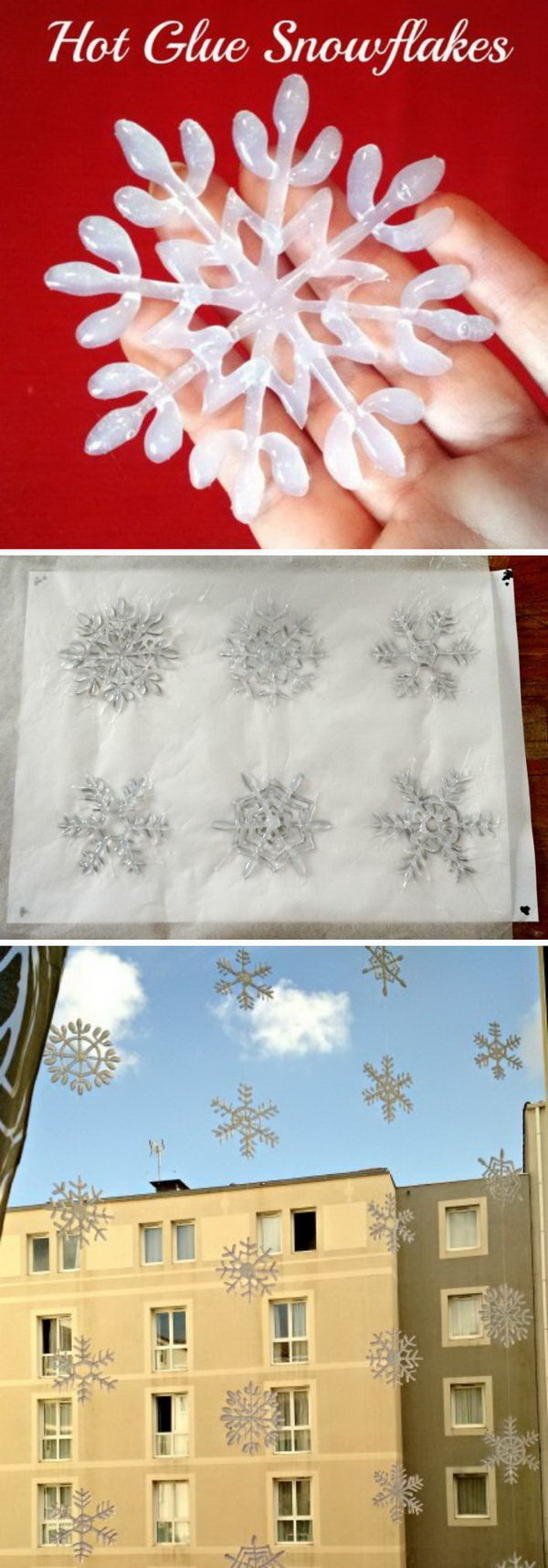 DIY Hot Glue Snowflakes. These snowflakes are super easy to make with glue guns.