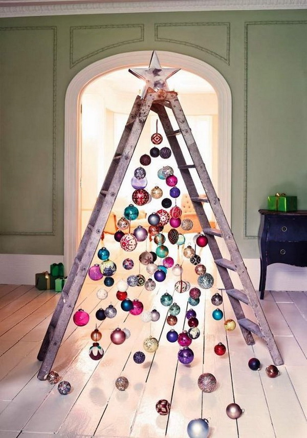 ladder christmas tree ideas love this nontraditional concept find an old ladder and turn