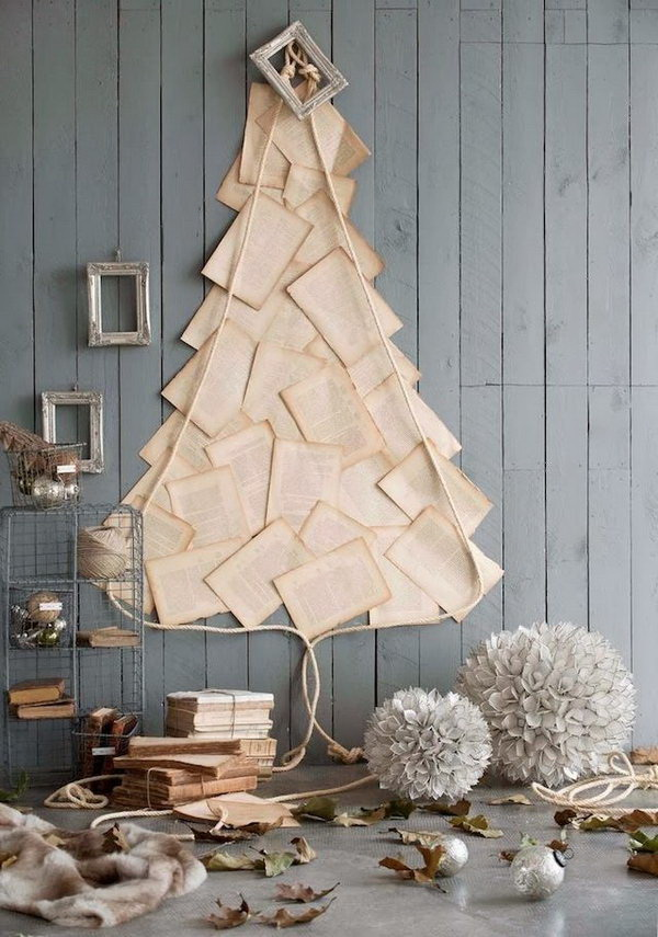 Be creative to make Christmas tree with anything you have at home. This book page Christmas tree idea is so simple but so chic!