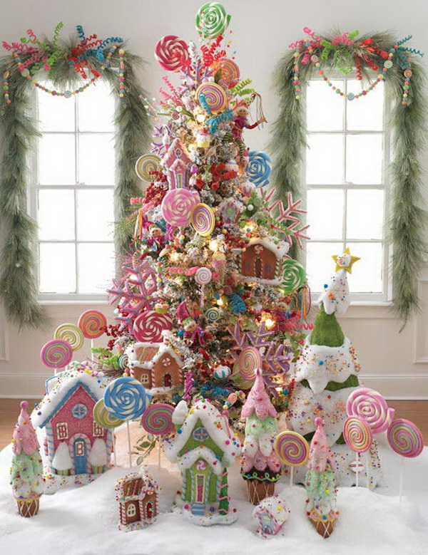 lollipop christmas tree decorate the christmas tree with lollipops peppermint and candy canes