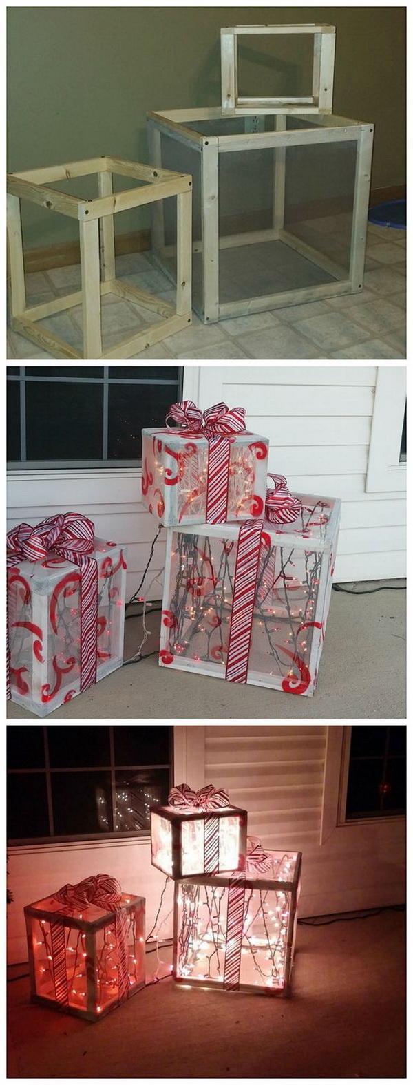 DIY Wood Christmas Present Outdoor Decoration.