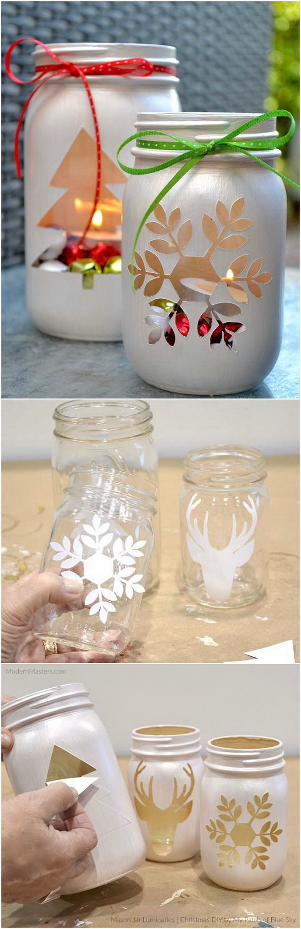 DIY Mason Jar Holiday Luminary.