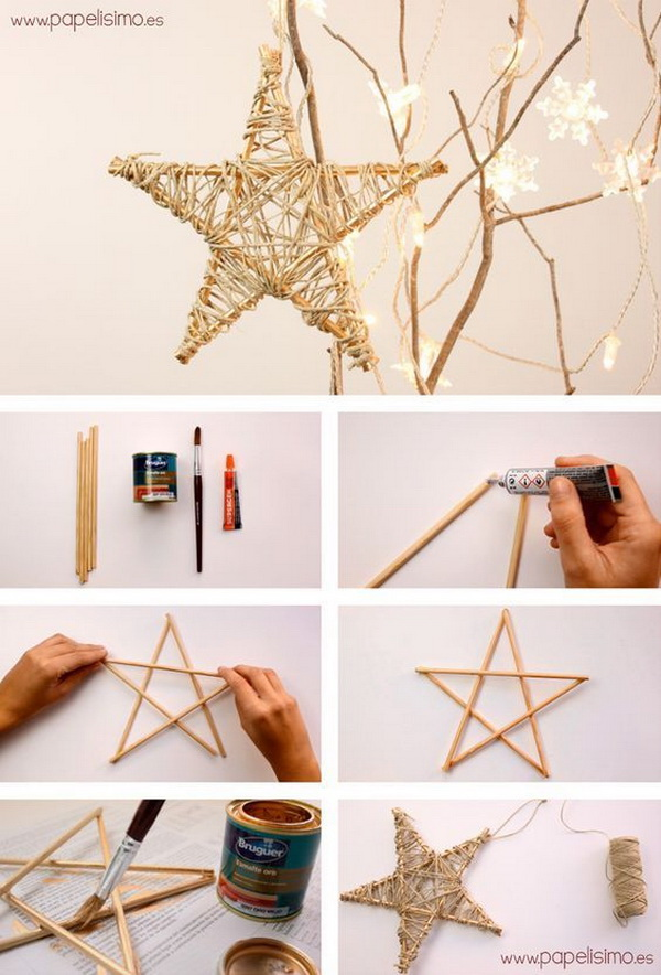 Handmade Rustic Star Ornaments.