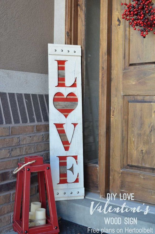 DIY big LOVE wood sign for Valentine's or wedding decor.