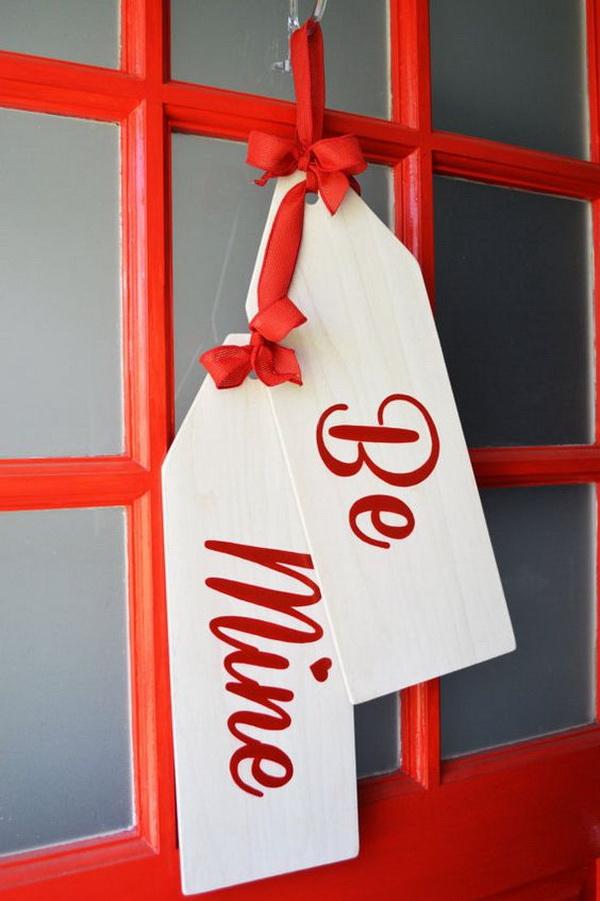 Valentine's Day Wreath, Be Mine Door Hanger Tags, Modern Rustic Handmade Decor.
