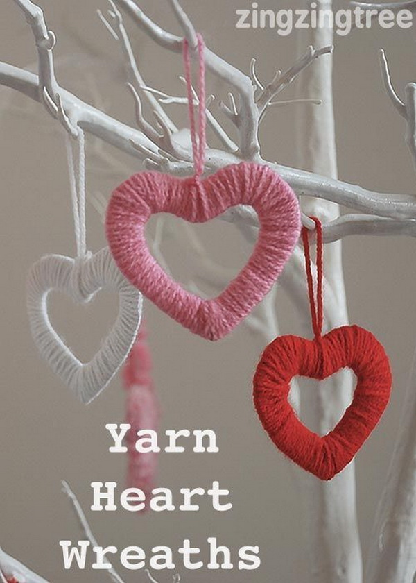 Yarn Heart Wreath.