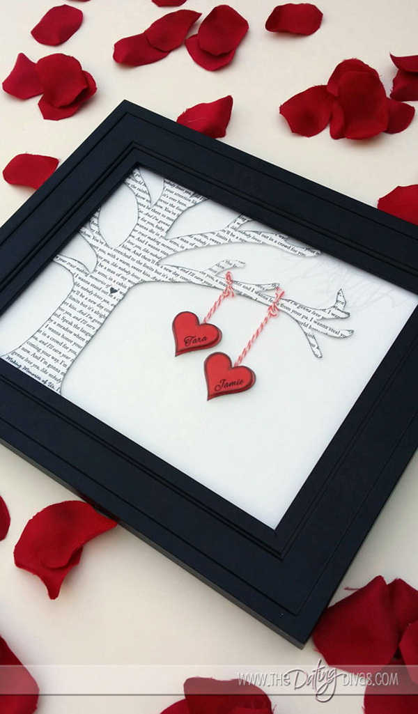 DIY Romantic Framed Wall Decor. Create a tree with book pages, then tie your heart shaped cutouts with both your names, secure everything with a glue and frame it!