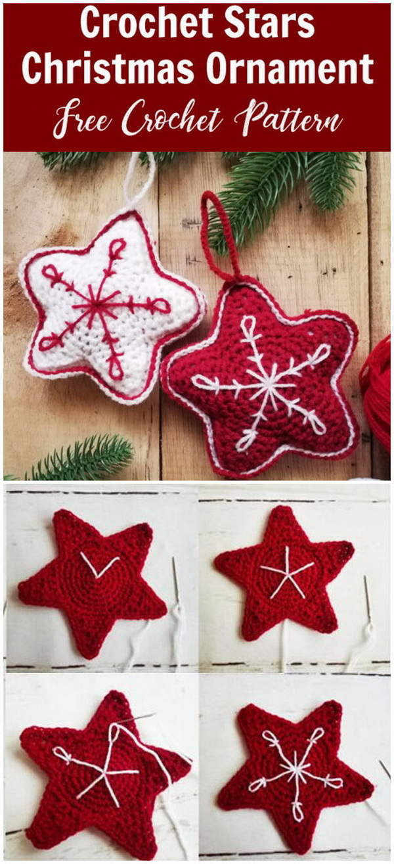 Crochet Stars Christmas Ornament.